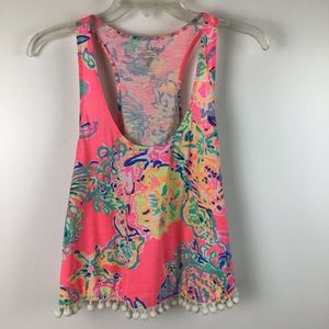 LILLY PULITZER Shirley Pom Pom Tank Top Coral Reef